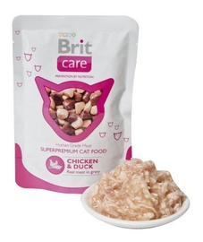 Konservi kaķiem Brit Care Cat Chicken & Duck Pouch 0,08kg
