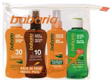 Babaria Sun Sunscreen Lotion SPF30 100ml + 100ml Tanning Oil SPF10 + 100ml Hair Protector + 100ml After Sunbathing Balsam + Bag