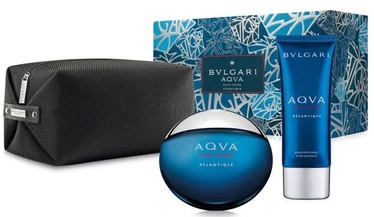 Bvlgari Aqva Pour Homme Atlantiqve 100ml EDT + 100ml Aftershave Balm + Cosmetic Bag