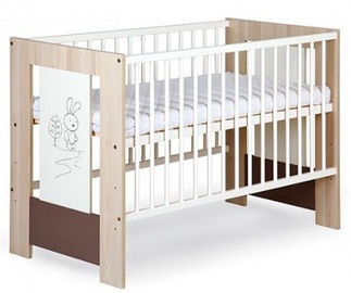Klups Safari Rabbit Cot 120x60cm White/Natural