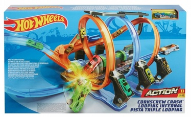 Mattel Hot Wheels Racetrack Corkscrew Crash FTB65