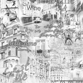 Tapetas flizelino pagrindu, Stenova, 889431, Merci, pilkas, miestas, Paryžius