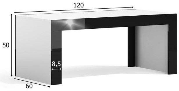 Kafijas galdiņš Pro Meble Milano Black/Grey, 1200x600x500 mm