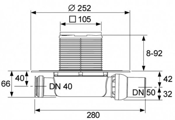 Trapo komplektas TECE DN50, horizontalus