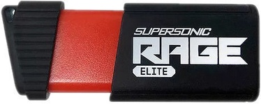 USB atmintinė Patriot Memory Supersonic Rage Elite Black, USB 3.1, 128 GB