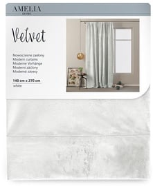 AmeliaHome Velvet Pleat Curtains White 140x270cm