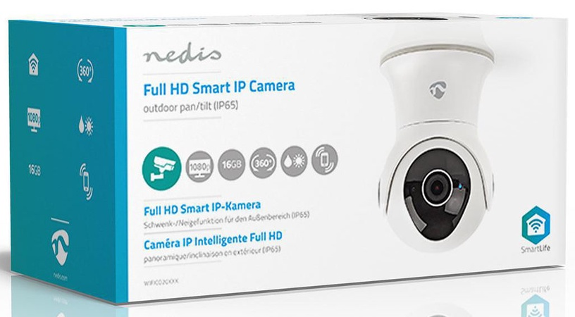 Nedis WIFICO20GWT Wi-Fi Smart IP Camera Pan/Tilt Full HD 1080p Outdoor UK Plug