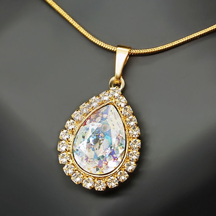 Diamond Sky Pendant Celestial Drop White Patina With Swarovski Crystals