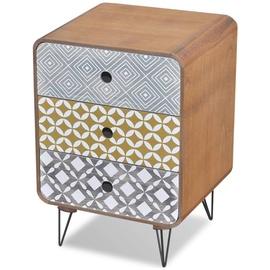 Ночной столик VLX Golden 242239, золотой/серебристый, 56.5x35.5x39.5 см