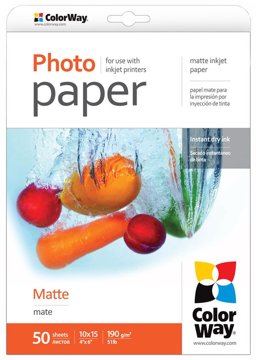ColorWay Photo Paper A6 190 Matte 50 Pages