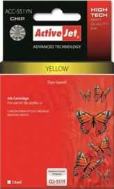 Rašalinio spausdintuvo kasetė ActiveJet ACC-551YN Cartridge 10ml Yellow