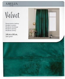 AmeliaHome Velvet Pleat Curtains Dark Green 140x245cm