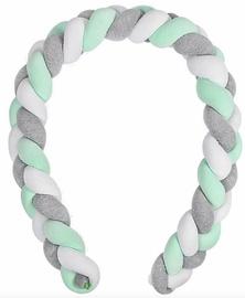Lulando Cot Bumper Braid Welur Grey/Mint/White 300cm