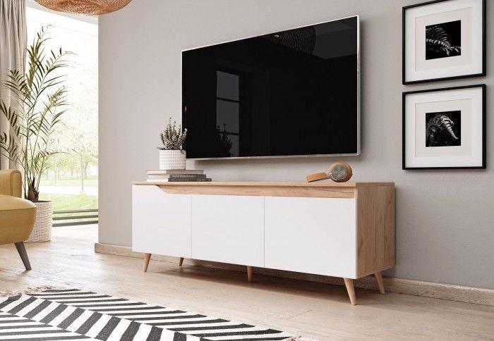 TV galds Vivaldi Meble Tue Gold Craft, balta/ozola, 1400x400x520 mm