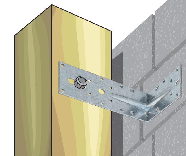 Tvirtinimo kampas, fasadinis, 190 x 190 x 65 x 2.5 mm
