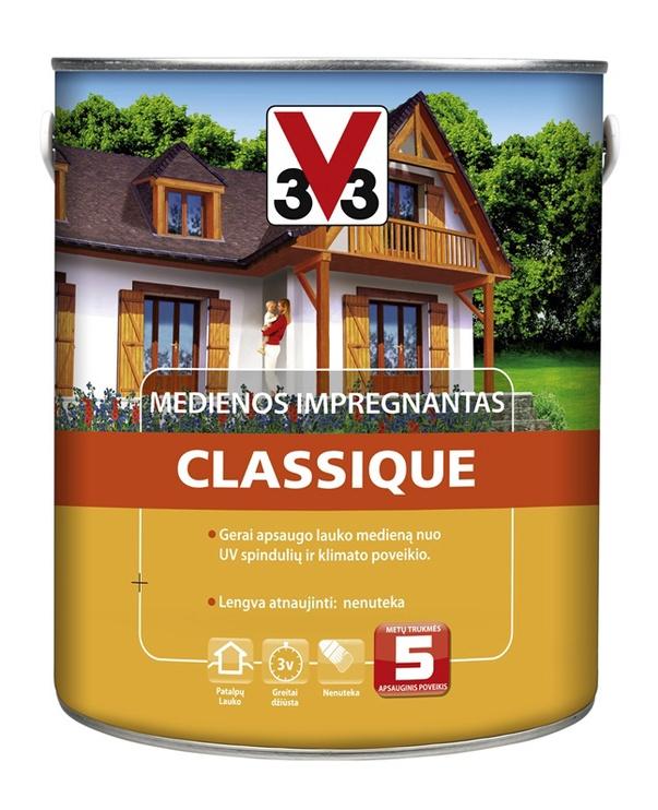 Medienos impregnantas V33 Classique, tamsaus ąžuolo, 2.5 l