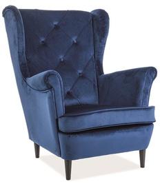 Fotelis Signal Meble Lady Velvet, 75 x 85 x 101 cm, mėlyna