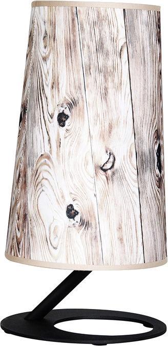 Wofi Ancona Table Lamp With Lampshade 60W E27 Black/Wood 060209