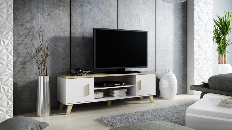 TV galds Cama Meble Lotta 160, balta/ozola, 1600x400x530 mm