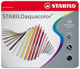 Stabilo Aquacolor Watercolor Pencils Metal Box 24pcs