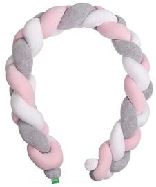 Lulando Cot Bumper Braid Welur Grey/Pink/White 200cm