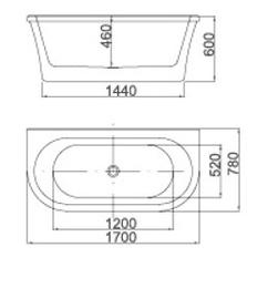 Vonia Masterjero Novito 51778, 170x78x60 cm, akrilas, ovali