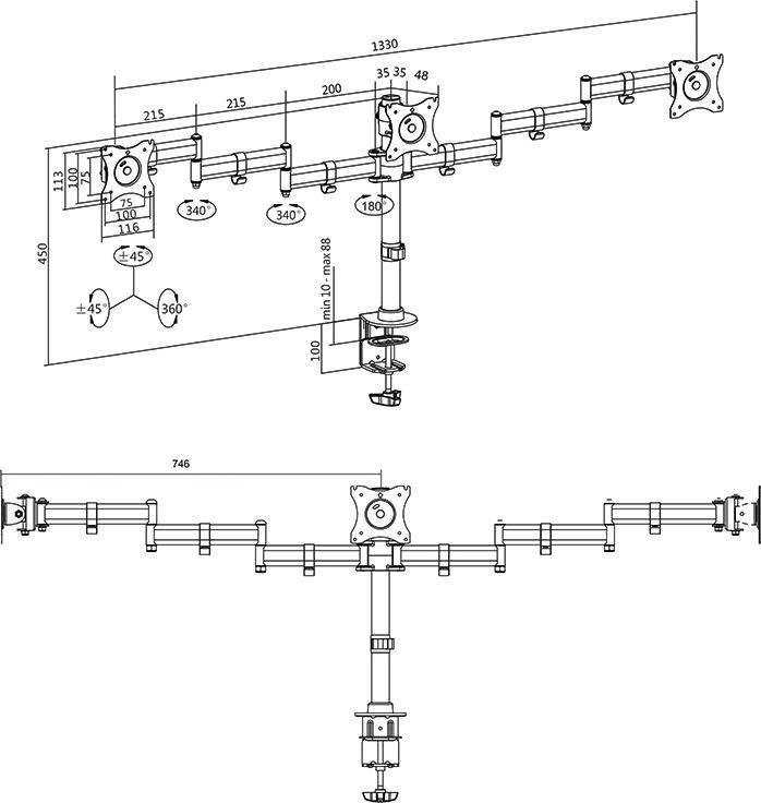 "LogiLink Triple Monitor Desk Mount 13 - 27"""