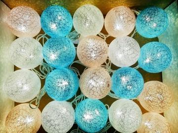 Shevlad Cotton Ball Connectable LED Turner D6cm 3.5m 20pcs Blue Pink White