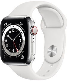 Nutikell Apple Watch Series 6 GPS LTE 40mm Stainless Steel White Sport Band Silver, hõbe