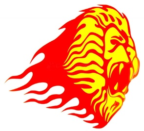 Windowsticker Lion 001 Yellow And Red