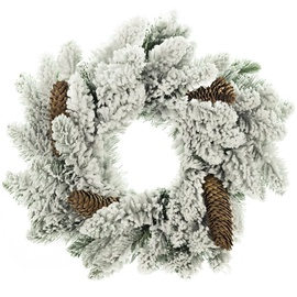 DecoKing Anne Christmas Wreath 50cm Snow/Pine Cone