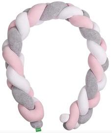 Lulando Cot Bumper Braid Welur Grey/Pink/White 300cm