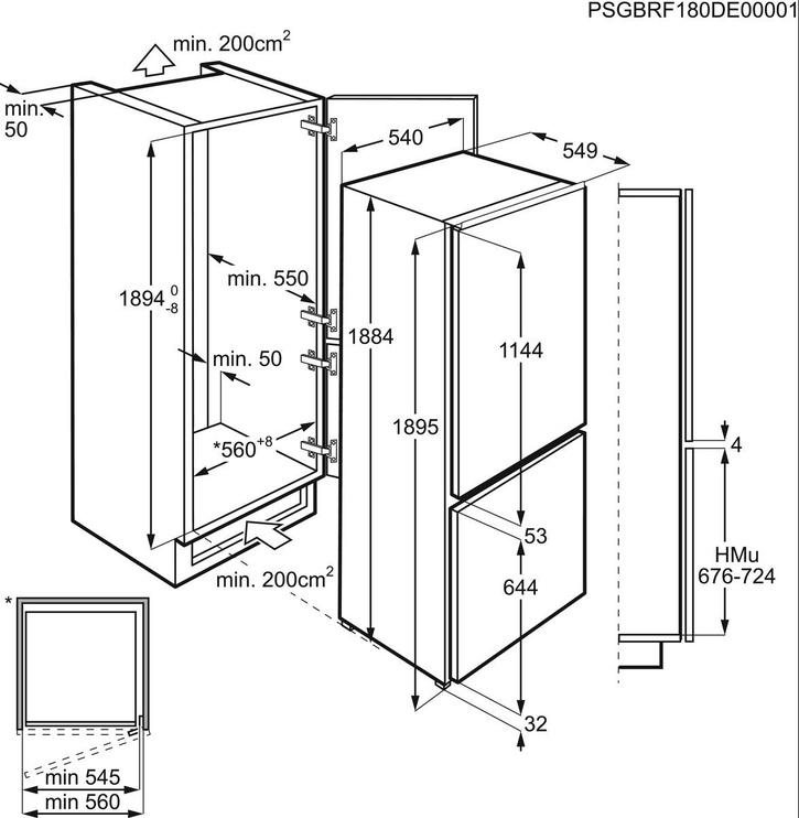 Ledusskapis iebūv. Electrolux ENN3054EOW
