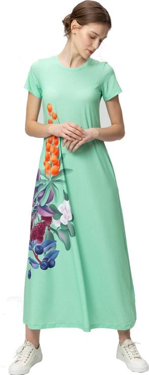 Audimas Long Stretch Printed Dress Mint Garden XS