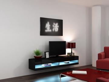 TV staliukas Cama Meble Vigo New 180 Black/Black Gloss, 1800x300x400 mm