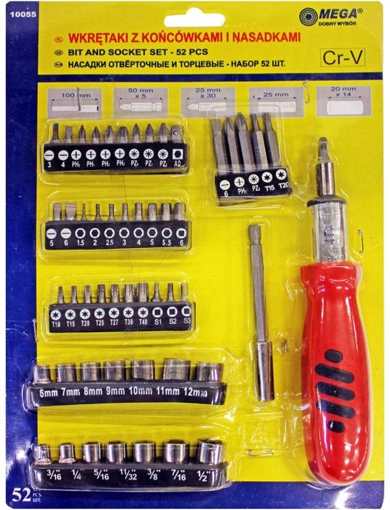 Mega 10055 Screwdriver 1/4'' + Bits & Sockets 52pcs