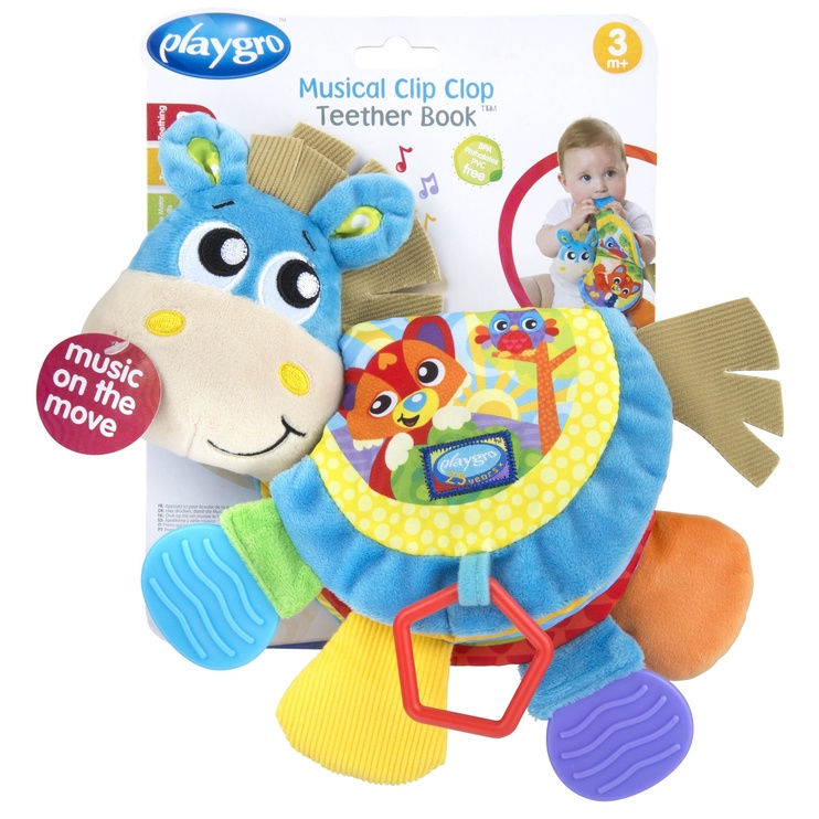 Playgro Musical Clip Clop Teether Book 0187552
