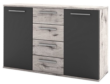 Black Red White Lines Chest of Drawers Oak/Dark Gray Lava