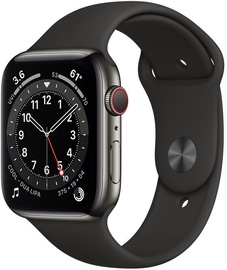 Išmanusis laikrodis Apple Watch Series 6 GPS LTE + Cellular, 44mm Stainless Steel Black Sport Band, juoda