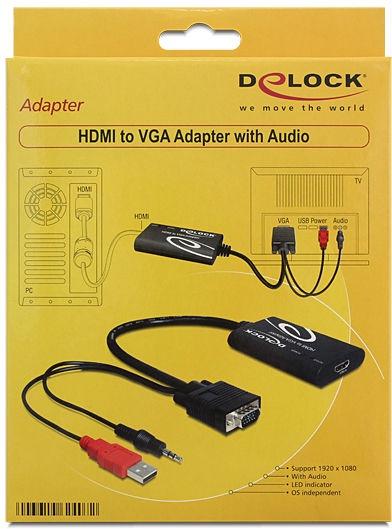 Delock HDMI Female to VGA Male + Audio Jack 3.5mm