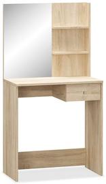 Kosmētikas galds VLX Chipboard 244862, ozola, 75x40x141 cm, with mirror