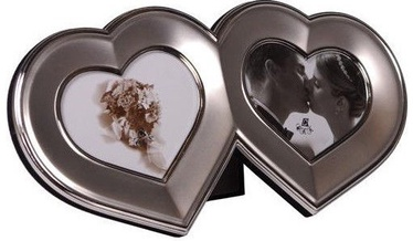Poldom Photo Frame Double 10x9cm Heart Silver