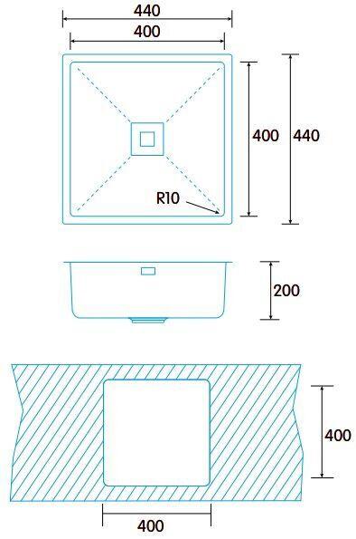 Раковина Edesa MAKALU BE 40x40 1C R-10, 440 мм x 440 мм x 200 мм