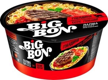 Makaronai indelyje Big Bon, jautienos skonio su pomidorais ir bazilikais, 85 g