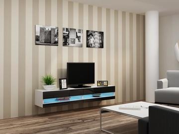 TV staliukas Cama Meble Vigo New 180 White/Black Gloss, 1800x300x400 mm