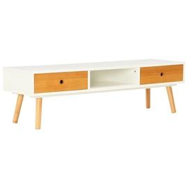TV galds VLX Solid Pinewood, brūna/balta, 1200 mm x 350 mm x 350 mm