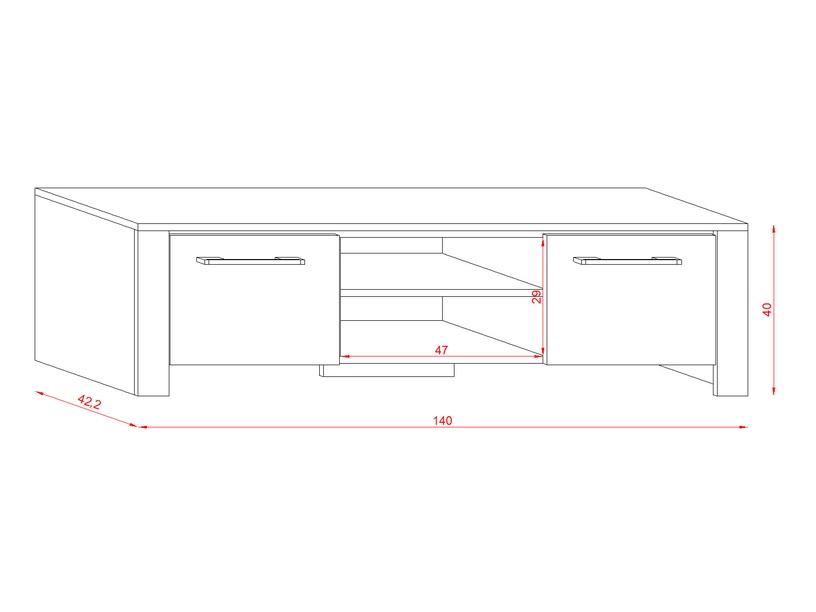 TV staliukas Vivaldi Meble Manhattan, juodas, 1400x422x400 mm