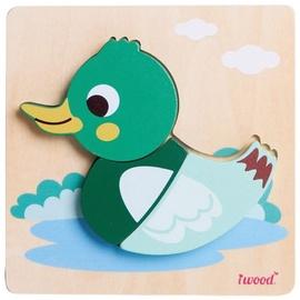 Puzle Iwood Wooden Animal Duck, 3 gab.