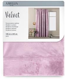 Öökardin AmeliaHome Velvet Pleat, roosa, 1400x2450 mm