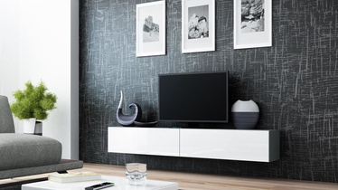 TV staliukas Cama Meble Vigo 180 Grey/White Gloss, 1800x300x400 mm
